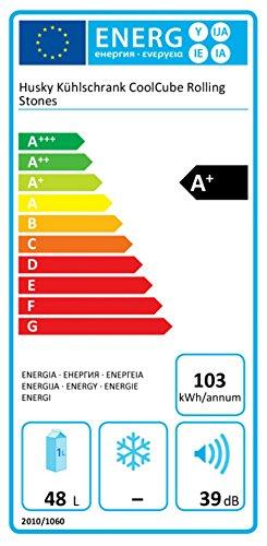 HUSKY HUS-CC 220 ROLLING STONES Kühlschrank (103 kWh/Jahr, A+, 510 mm hoch, Schwarz/Rot)