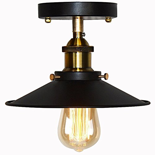 Umbrella Deckenleuchte Semi Flush Mount Leuchte Retro Industry Single Kopf Little Black Rock Deckenleuchte Edison Vintage Barn Light