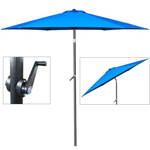 Deuba® Sonnenschirm • Ø 200cm • Kurbel und Neigefunktion • wasserabweisend • Aluminium - Kurbelschirm Gartenschirm blau