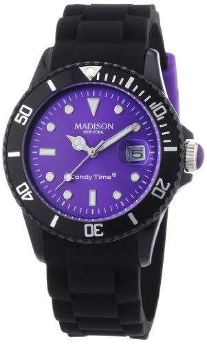 MADISON NEW YORK Unisex-Armbanduhr Candy Time – Black Line Analog Quarz Silikon U4486-01/1