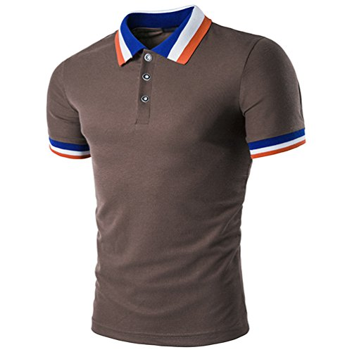 CHENGYANG Herren Revers Kurzarm T-shirt Casual Streifen Stitching Poloshirt Kaffee