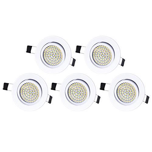 5 x Lu-Mi LED Einbaustrahler Flach 230V - Deckenspots Ultra Flach Einbaustrahler | 350 Lumen | 230V | 3,5W | Licht: Kaltweiss 6000K | Gehäuse Rund | (Weiß)