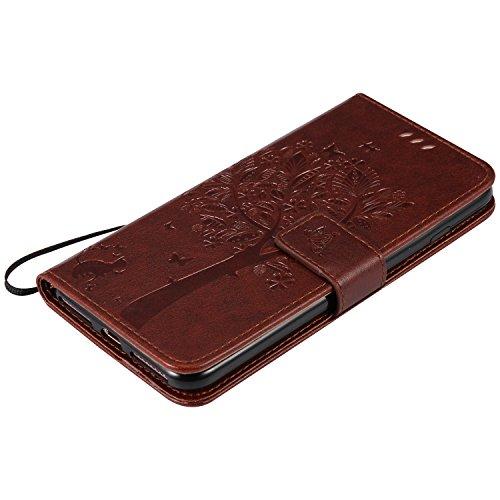 OuDu iPhone 7 Hülle, Baum&Schmetterling Impressum Muster Etui für iPhone 7 PU Leder Handyhülle Klapp Buch-Stil Ledertasche Standfunktion Schutzhülle Flip Wallet Case mit Magnetverschluss & Kartensteck Braun