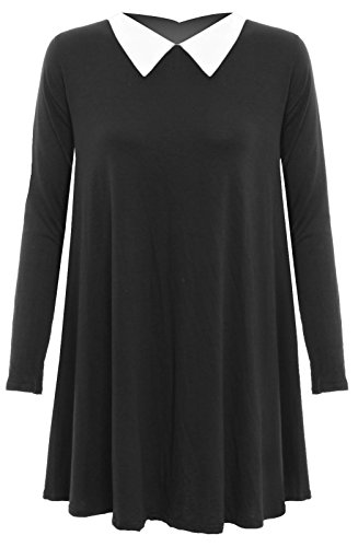 Donna Tinta Unita Manica Lunga Colletto alla Peter Pan Swing Skater Dress donna top elasticizzato Black 20