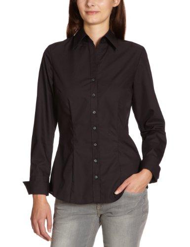 Seidensticker Damen Hemdbluse slim fit Langarm bügelfrei mit schwarzer Rose einfarbig, schwarz, 40 (Langarm-bluse Klassische)