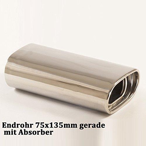 Friedrich Motorsport Duplex Auspuff Sportauspuff Endschalldämpfer Sportendschalldämpfer ESD mit Endrohr 75x135mm gerade mit Absorber 861343D-27