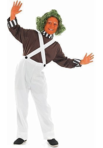 Mädchen Jungen Kinder Child's Oompa Loompa Book Tag Halloween Kostüm Outfit bis 12 Jahre (Oompa Loompa Halloween-kostüm)