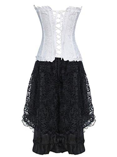 Burvogue Damen Gothic Spitzen Steampunk Korsett Kleid Kostüm Weiß