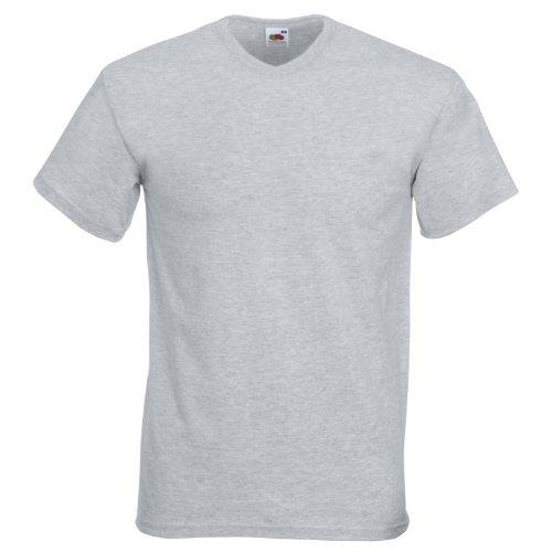 Fruit Of The Loom Valueweight T-shirt für Männer mit V-Ausschnitt, kurzärmlig Grau - Heather Grey