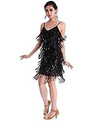CoastaCloud Femme Mini Robe de Danse Latine Rumba Danse Vintage Costume Sexy Dress avec Frange à Bretelles