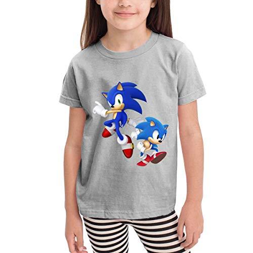 HGdggvd Sonic Hedgehog Unisex Jugend Kurzarm T-Shirt, Kinder T-Shirt Tops Schwarz