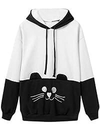 Mujer Sudaderas, ASHOP Manga Larga Bordado de Gato Blusa Patchwork Talla Extra Sweatshirt Casual Encapuchado Sudadera Mujer Cremallera Corta Top Deporte