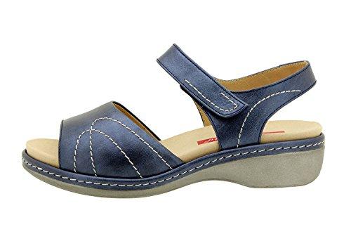 Chaussure femme confort en cuir Piesanto 8801 sandale semelle amovible confortables amples Marino