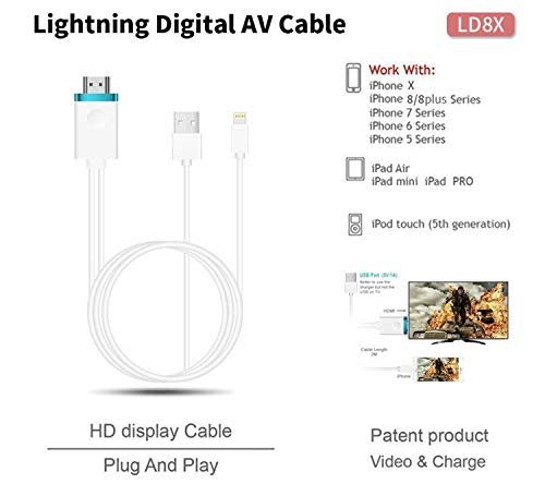 outlet store d4df6 f014d Cable Adaptador HDMI TV HDTV y Cable USB 1080P para iPhone 5 5S 5C 6 6S 6  Plus 6S Plus 7 7 Plus 8 8+ X XR XS XS MAX.