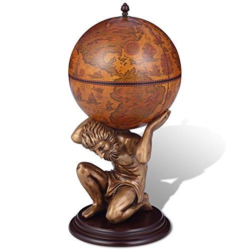 Festnight Botellero en Forma de Atlas y Globo Terráqueo 42 x 42 x 85 cm