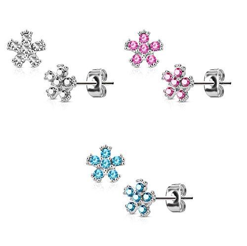 en 1 Paar Ohringe Ohrringe Set Stecker Edelstahl Chirurgenstahl Blume 6 Mini Zirkonia clear pink aqua (Silber Blumen-ring)