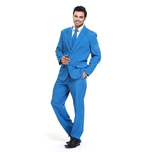 YOU LOOK UGLY TODAY Modisch Normaler Schnitt Herren Party Anzug Weihnachten Kostüme Festliche Anzüge Party Suits einheitliche Farbe Blau