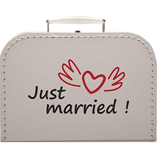 Hochzeitskoffer Just Married, Pappkoffer Koffergröße 25 x 17,5 x 8,5 cm, Farbe weiß