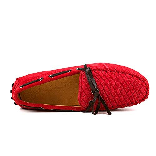 Shenduo Classic, Mocassins femme daim - Loafers multicolore - Chaussures bateau & de ville confort D7058 Rouge