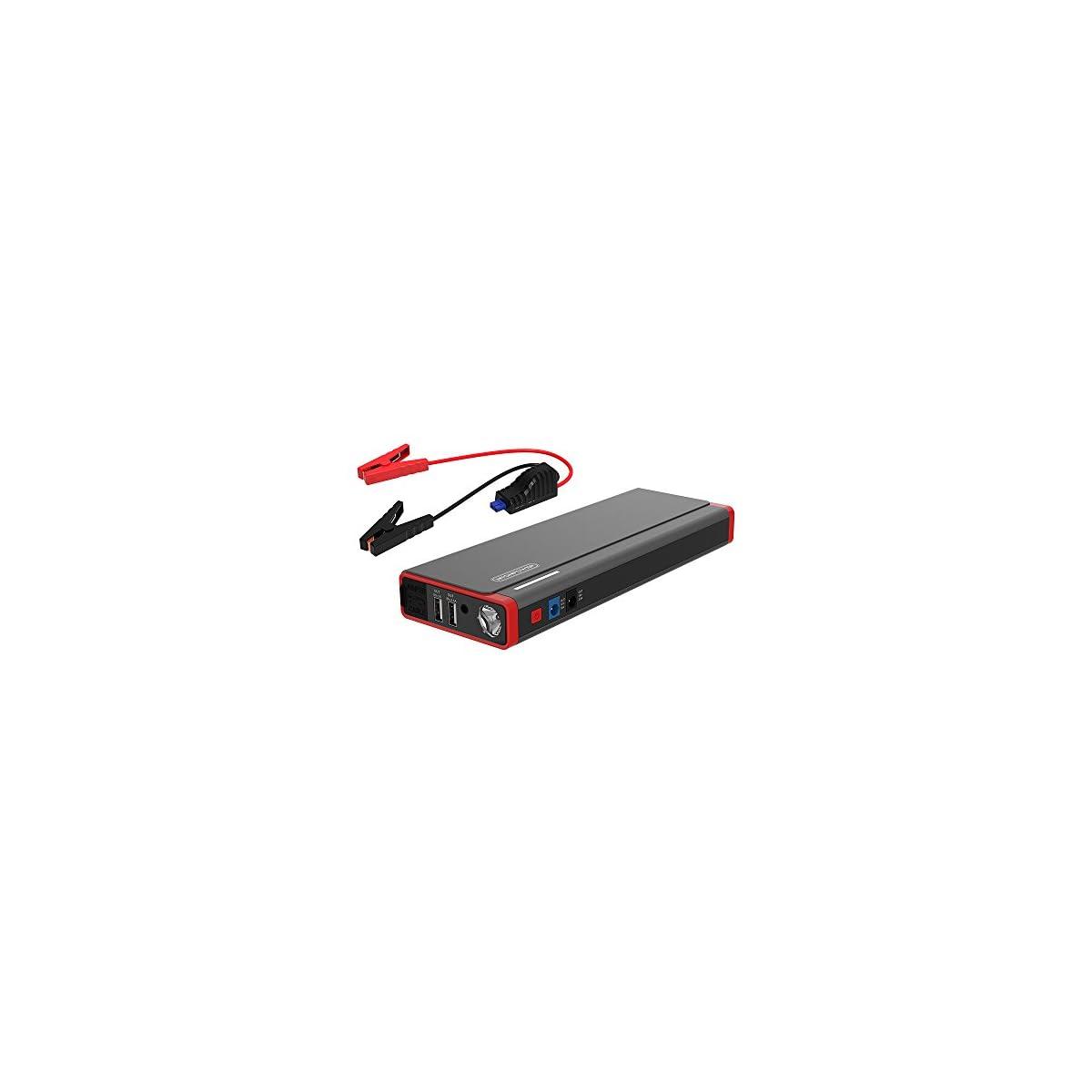 41o7EZw0M%2BL. SS1200  - Arrancador de Coche de 18000mAh 800A Pico (8 L Gas o motores Diesel 6 L ) con Batería Externa Recargable, Arranque Kit para Coche,LED Flashlight,Con Pinzas Inteligentes,Dual USB Puertos para Smartphones,Tablets-Gris