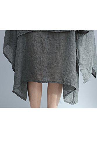 Le Donne In Boemia Collo Le Maniche Corte Irregolare Solido Canapa Midi Tunica Vestito Grey