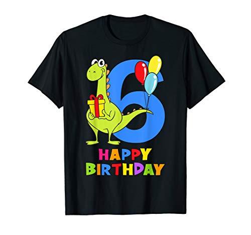 6 Jahre Kinder 6. Geburtstag Jungen Mädchen Dino Fun T-Shirt
