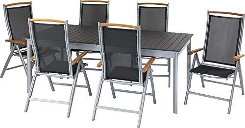 ib style®Polywood Gartengarnitur   Tisch+ 6X Klappstuhl Diplomat  pflegeleicht und witterungsbeständig   Tisch: 156-212x90cm - Polywood Klappstuhl