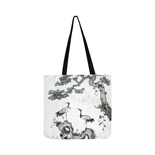 Mandschurenkranich weiße Federn Canvas Tote Handtasche Schultertasche Crossbody Taschen Geldbörsen für Männer und Frauen Einkaufstasche