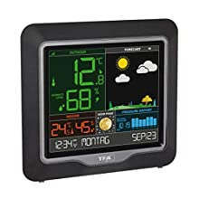 TFA Dostmann Season Stazione meteorologica Radio con sensore Esterno, Nero, (L) 175 x (B) 32 (84) x (H) 165 mm