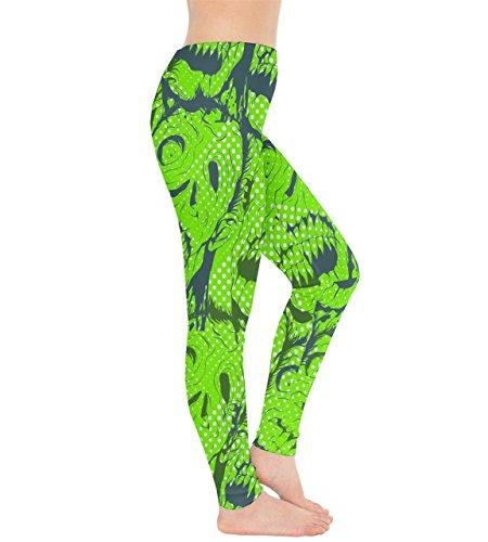 CowCow - Legging - Femme noir noir vert citron