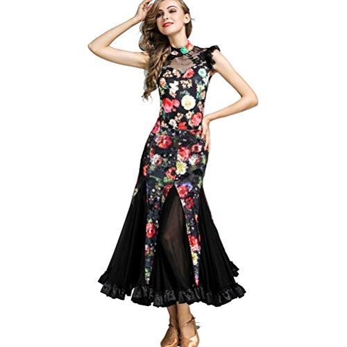 Wanson Damen Performance Kostüme Modern Dance Rock-Klage Samt Schnüren Spleißen Ballroom Tanz Wettbewerb Kleider 2 Stück (Zwei Stück Tanz Wettbewerbs Kostüm)