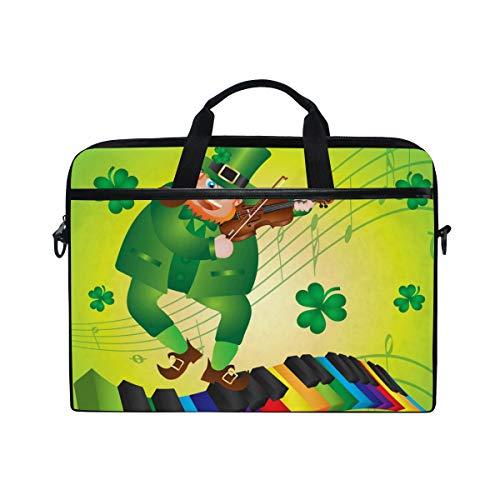 Tasche St Patricks Day Leprechaun Piano Canvas Stoff Laptop Tasche Bussiness Handtasche mit Schultergurt für Damen und Herren ()