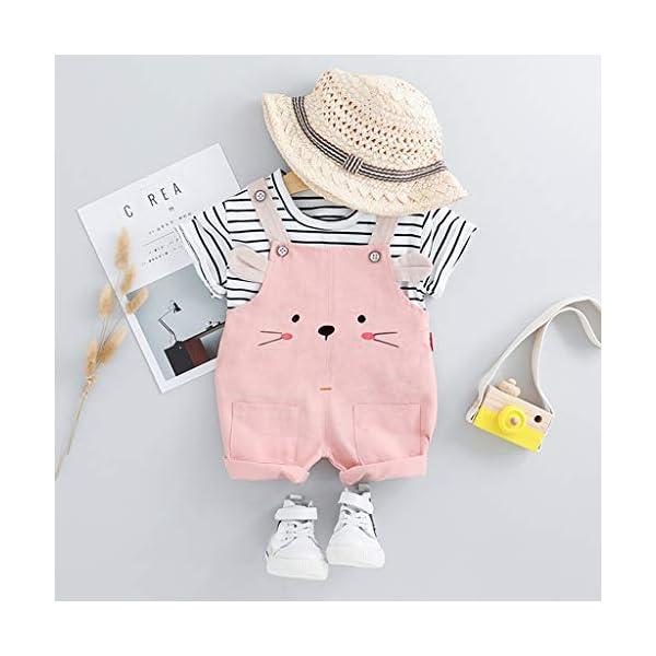 Trisee Niños Trajes Raya Corta Tops y Lindo Oso de Dibujos Animados Imprimir Pantalones Babero 2pcs Set Unisex BabySuits… 3