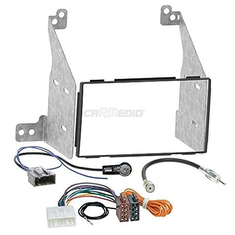 Nissan Pathfinder 04-13 2-DIN Autoradio Einbauset in original Plug&Play Qualität mit Antennenadapter, Radioanschlusskabel, Zubehör und Radioblende/Einbaurahmen schwarz