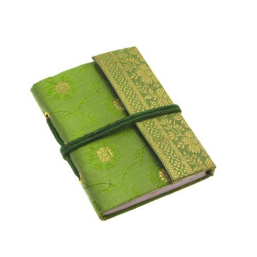 Fair Trade Block notes ricoperto in tessuto sari 80 x 105 mm mini verde