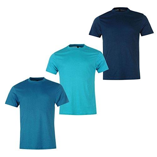 Donnay Herren 3er- Pack Kurzarm Rundhals Sport Freizeit T Shirt Teal/Turq/DkBlu XXL (Climacool-rugby)