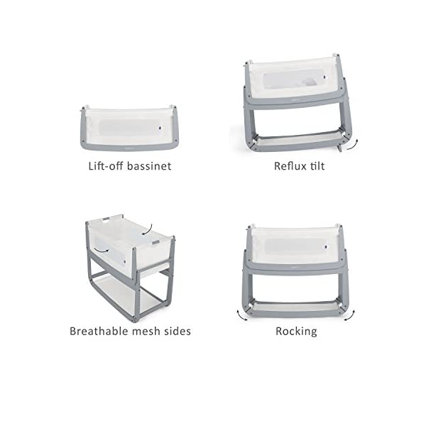 SnuzPod 3 Bedside Crib - Dove Grey Snuz SnuzPod 3 has added functionality, a lighter bassinet and a more breathable sleeping environment. More than just a bedside crib; use as a bedside crib, stand alone crib or moses basket/bassinet. Simply attach the crib to your bed using straps provided (fits frame and divan beds) and your ready use as a bedside crib. The 9 different height settings allow you to ensure the crib is the right height for your bed (31-63cm) New! SnuzPod 3 now comes with an optional reflux function, by tilting the crib and setting an incline to reduce reflux symptoms little one can get a better nights sleep. 3