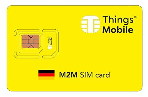 DATEN-SIM-Karte M2M DEUTSCHLAND - Things Mobile - mit weltweiter Netzabdeckung und Mehrfachanbieternetz GSM/2G/3G/4G. Ohne Fixkosten und ohne Verfallsdatum. 10 € Guthaben inklusive