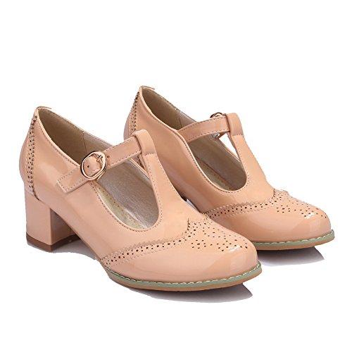 AgooLar Femme Verni Boucle Rond à Talon Correct Couleur Unie Chaussures Légeres Abricot