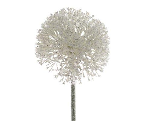 Blume Allium Kunstblume am Stiel weiß mit Glitter 10 x 10 x 51 cm
