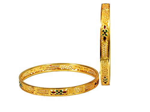 Mansiyaorange Traditional Fancy Designer Casual Orignal Look Hand Work Party Wedding Wear Meena Work One Gram Gold Sleek Two Golden Bangles For Women  available at amazon for Rs.285