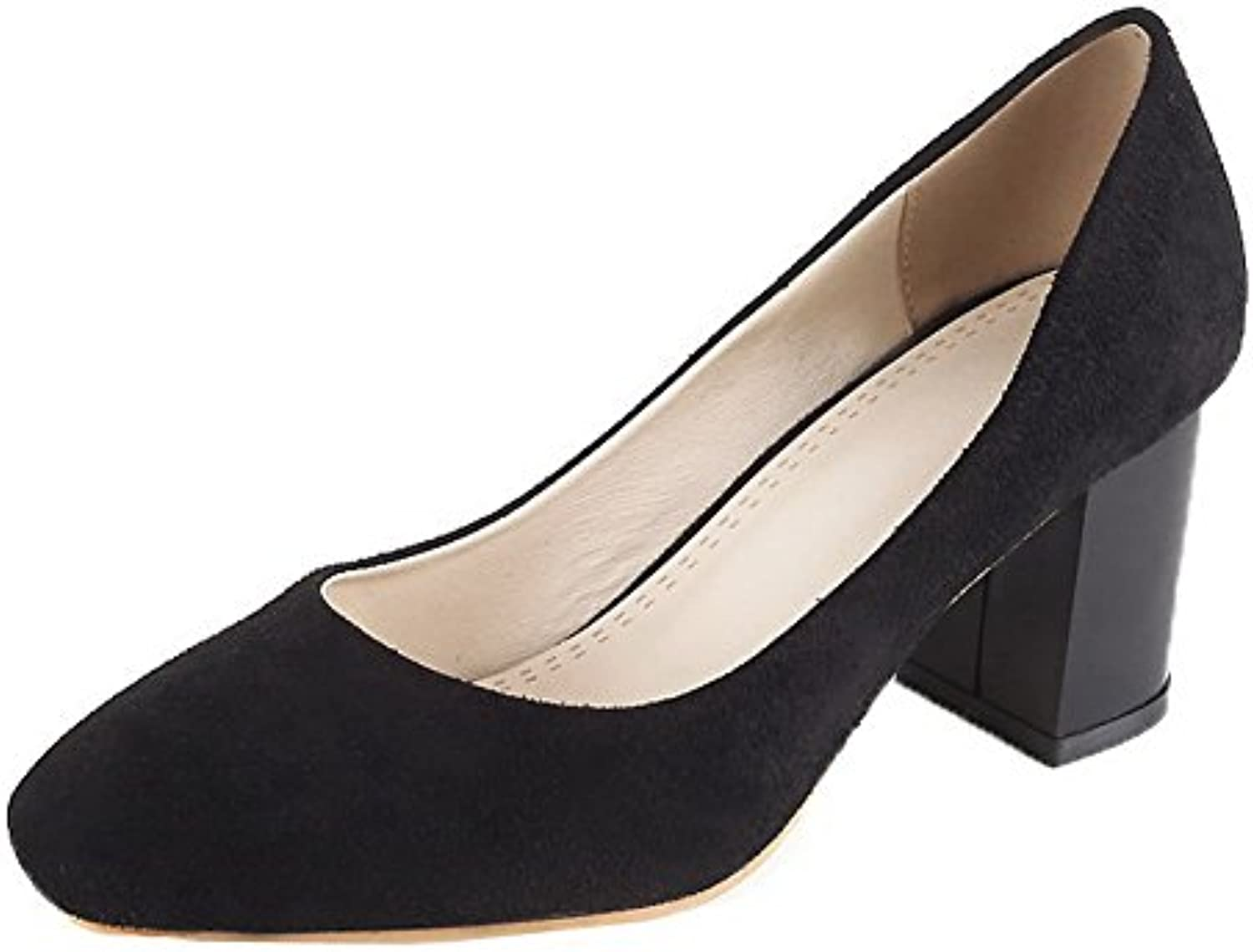 7a6261bdecb AgooLar Women s Kitten-Heels Solid Solid Solid Pull-On Frosted Square  Closed Toe Pumps-Shoes