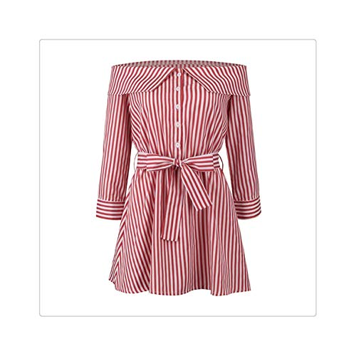 Bow Tie-overlay (Summer Dress Elegant Off Shoulder Slash Neck Long Sleeve Sexy Shirt Dress Women Striped Bow Ties Casual A-Line Vestidos Female Red M)