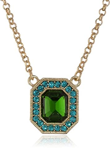 1928 Jewelry Gold-Tone Blue Zircon and Emerald Crystal Octagon Pendant Necklace 16 Inch Adjacent of 40-48cm 48812