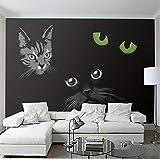 Benutzerdefinierte Wandbild Persönlichkeit Schwarze Katze Katzenaugen Moderne 3D Wohnzimmer Sofa Tv Hintergrund Halle Fresko Tapete Wandverkleidung Rolle