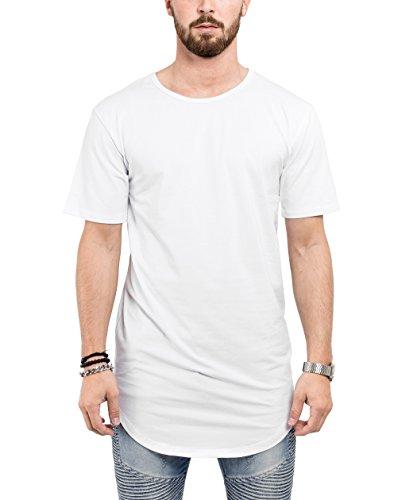 Blackskies Round Basic Longshirt | Langes Oversize Fashion Langarm Herren T-Shirt Long Tee - Weiß X-Large XL -