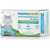 Mamaearth Moisturizing Baby Bathing Soap Bar, pH 5.5, with Goat Milk & Oatmeal. Pack of 2, 75gms each