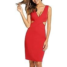 3440160dfef17 ACEVOG Damen Vintage Abendkleid Etuikleid V-Ausschnitt Bodycon Ärmellos  Sommerkleid Elegant …