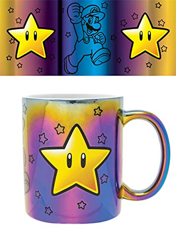 Nintendo FMG25308 Tasse, Metall, 315 ml, Super Mario (Star Power)