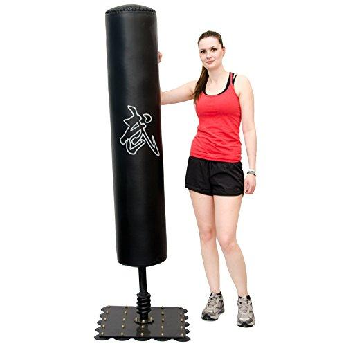 XXL Standboxsack 180cm hoch Gefüllter Freistehender Boxsack für Erwachsene Boxpartner Tube Trainer Punching Bag Box Dummy Schwarz